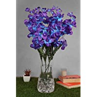 PolliNation Artificial Orchid Flowers for Home Decoration (Blue, Pack of 5)