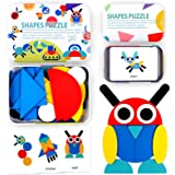 StillCool Tangram Puzzle, 36 Tangram Puzzle de Madera Montessori+ 60 PCS Diseño Tarjetas para Bloques de Patrones de Madera A