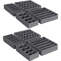 SONGMICS Boîtes de rangement pliable pour sous vêtements, lot de 8, Séparateur de tiroir, Organisateur de tiroir, pour…