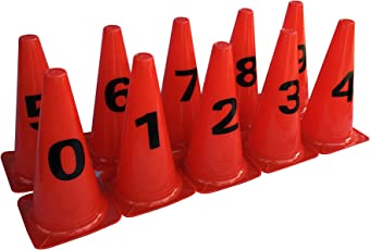 G.I.I. Pack of 10 Elementary Marker Cones (12 Inch) for Soccer Cricket Track and Field Sports