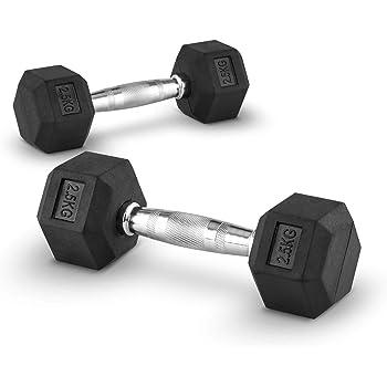 Capital Sports Hexbell 2.5 Mancuernas 2,5kg (Par de pesas cortas de 2.5 kilos cada una, ...