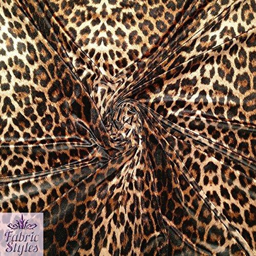 FS005_ 1Leopard Print Stretch Samt Polyester Elastan Jersey Stoff–Verkauft Pro Meter (Leopard-print-jersey)