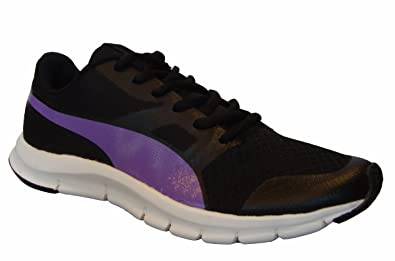 puma shoes purple and black. puma women\u0027s flexracer dp black and electric purple running shoes - 4 uk/india (