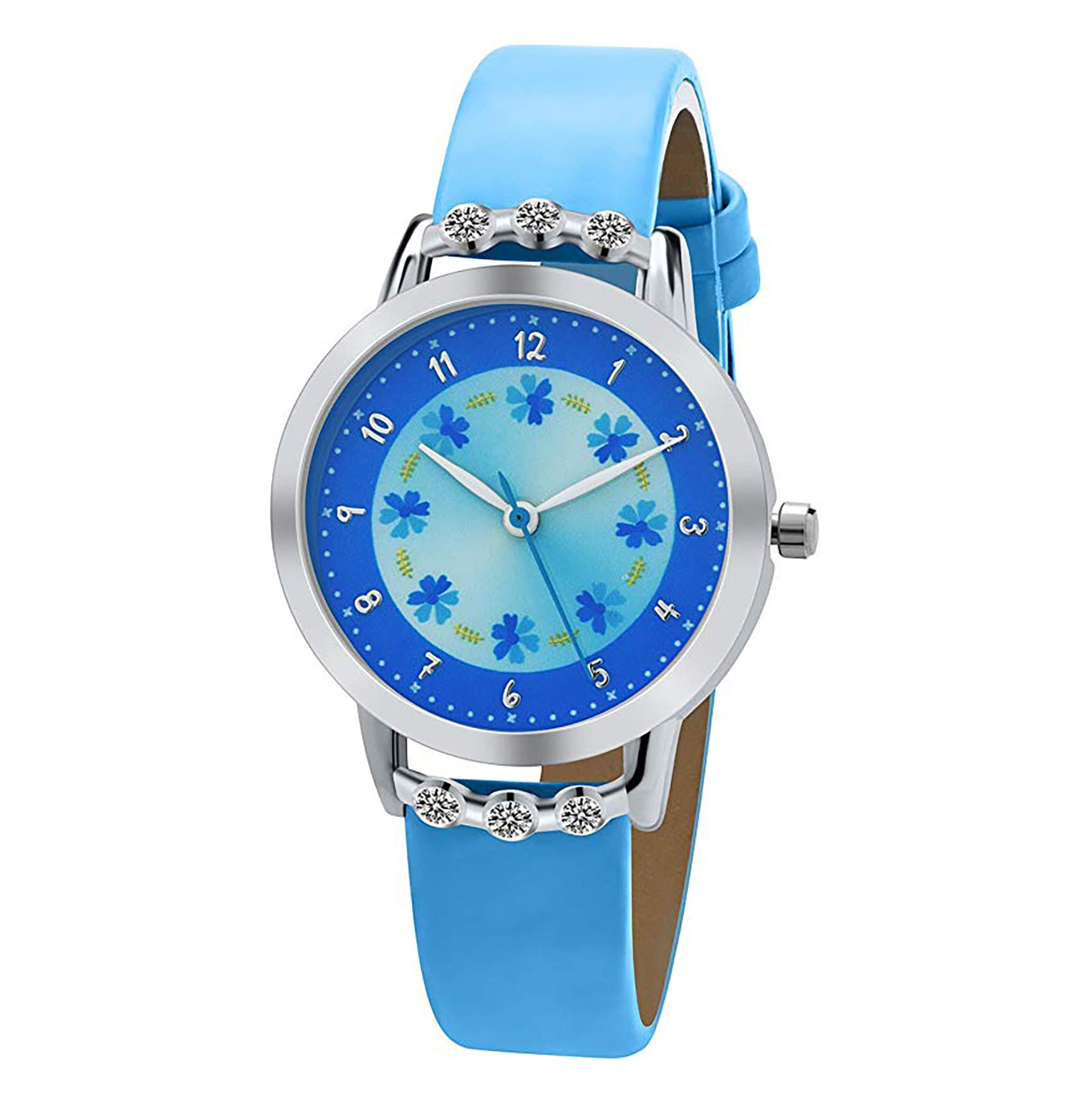 Girls Watches,Flowers Diamond Wrist Watch PU Leather Band Analog Quartz Cute Waterproof Watches for Kids Girls