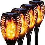 Solarlampen für außen, 4 Stück Flammenlicht Gartenfackeln IP65 Wasserdicht Solar Flamme Fackeln Lichter Solarleuchten mit Rea