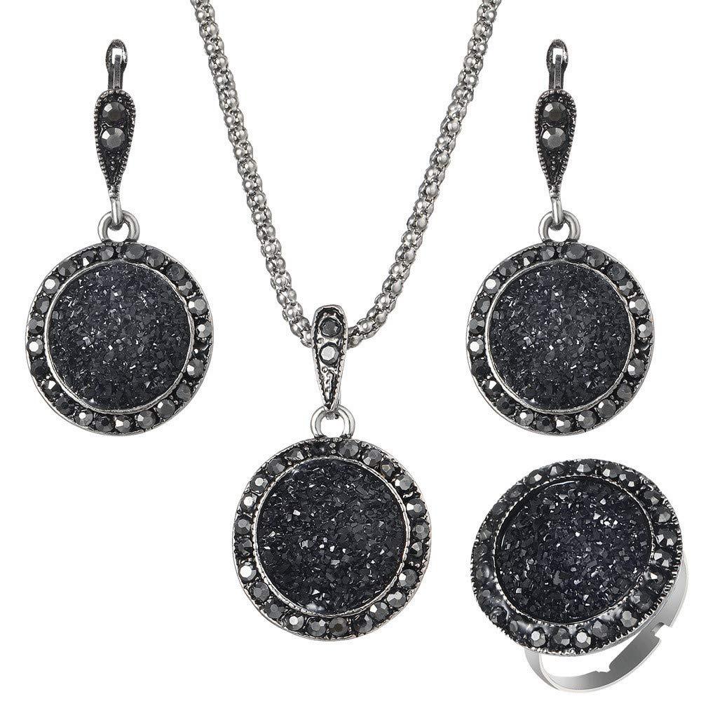 Ogquaton Sistemas de la joyería de la boda del anillo de los pendientes del anillo de piedra negro redondo retro antiguo superior de la calidad para las mujeres, 19m m