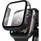 Compatible con Apple Watch 44mm Serie 6/SE/5/4 Funda+Cristal Templado, Qianyou PC Case y Vidrio Protector de Pantalla Integra