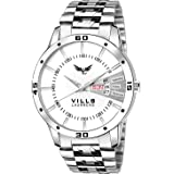 VILLS LAURRENS Analogue Men's & Boy's Watch (White Dial Silver Colored Strap)
