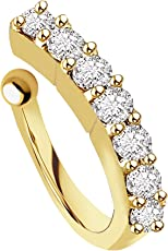 chandrika pearls gems & jewellers gold plated White Stone Metal Press On Nose Ring for Women and Girls