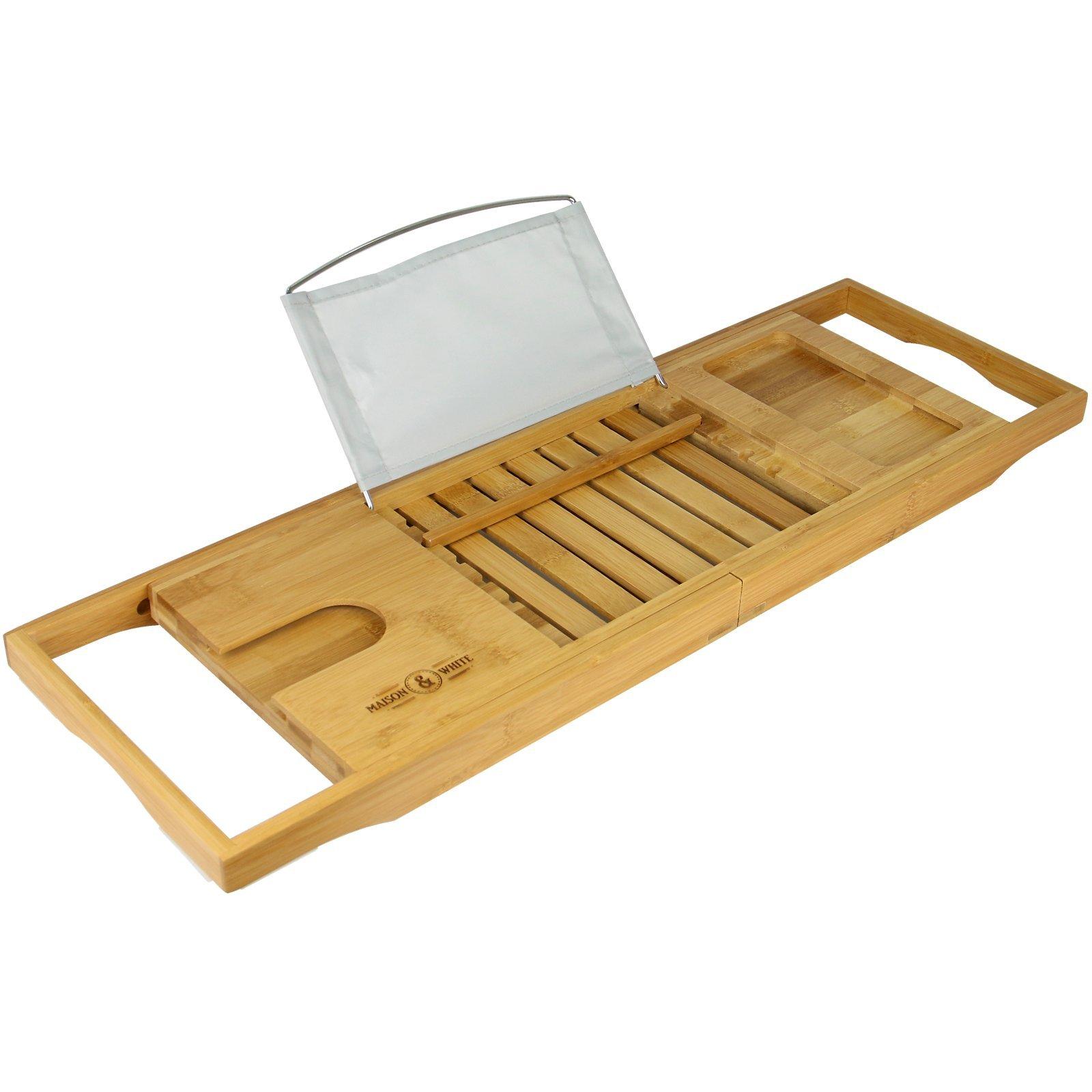 Extendable Bamboo Bath Caddy | Adjustable Home Spa Wooden Bath Tray ...