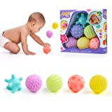WolinTek Juguetes para bebés Bolas de apilamiento para bebés,6 Pieza Bolas Sensoriales para Bebés Soft Hand Ball Grip Ball Se