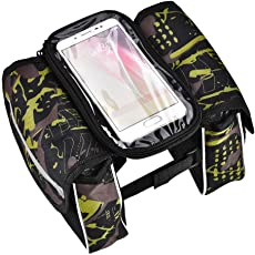 Bike Handlebar Pouch, Outdoor Waterproof Bicycle Frame Top Tube Phone Bag with Touch Screen Cycling Bicycle Bag