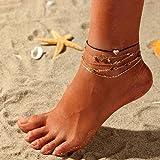 Ushiny Boho - Cavigliera a forma di cuore, con perline dorate per donne e ragazze, 5 pezzi