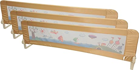 Ehomekart Kids Bed Rail Guard for Baby Safety, 180 cm x 50 cm, Beige (Set of 3)