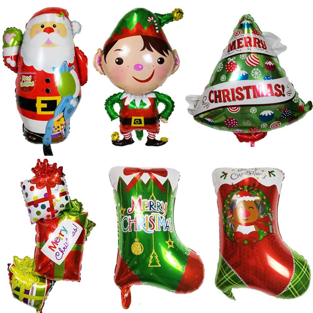 ED-Lumos Globos de Helio 6 Piezas Decoración para Navidad Forma Papá Noel Arbol de Navidad calcetín de Navidad Niño Regalo