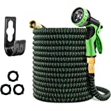 Mlife 100 FT Expandable Garden Hose, Flexible Water pipe with Three Latex Core, 3/4'' Solid Brass Connector, Expanding Water