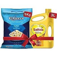 Saffola Total-Pro Heart Conscious Edible Oil , 3 L and Kohinoor Super Value Basmati Rice 5 kg