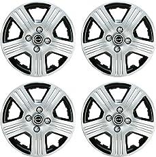 Hotwheelz Silver Black 12 inch Wheel Cover for Hyundai Eon (Set of 4)
