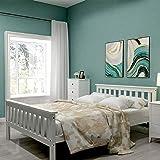Lit en bois 140 x 200 cm, jusqu'à 200 kg, lit double avec sommier à lattes, cadre de lit double en bois massif avec tête de l