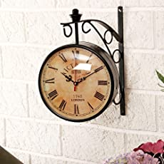Efinito Gifts 12-inch Dial Vintage Antique Black Station Double Sided Wall Clock(Multicolour)