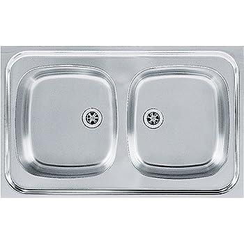 Grey Franke 101.0060.609 620-78 Stainless Steel Euroform EFN Steel Smooth Double Bowl Kitchen Sink