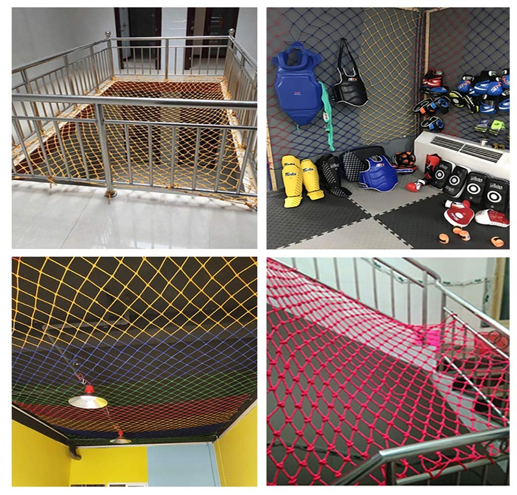 Blue Outdoor Child safety net protective net balcony stairs anti-fall net kindergarten color decorative net fence network Width 1/4M Length 1M /9M Hand braided traditional structure (Size : 4m*5m)  [Protect children's safety]: Many children fall from the building, let us understand that the safety of children can not be ignored. [Polyester knotless woven mesh]: The mesh surface has large pulling force, and the double needle has no knot woven mesh hole, so that the mesh has stronger impact resistance. [wire diameter 10MM, mesh spacing 10CM]: Escort for baby safety.(Others available in our shop) 6