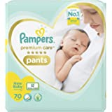 Pampers Premium Care Pants, New Born, Extra Small size baby diapers (NB,XS), 70 count, Softest ever Pampers