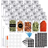 K KUMEED 25PCS Pot à épices Pots Rangement 120 ML Carrés à épices en Verre Bocaux épices avec Capuchon hermétique Tableau et