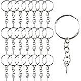 LEEQ 50 pièces Porte-clés Anneaux Split Porte-clés avec chaîne à maillons, 50 pièces Anneaux Ouverts et 50 pièces tiges à vis