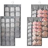 2PCS Rangement à Suspendre Sac Organisateur de sous-vêtements pour Armoire Double-Face Penderie Placard Cintre étagères pour