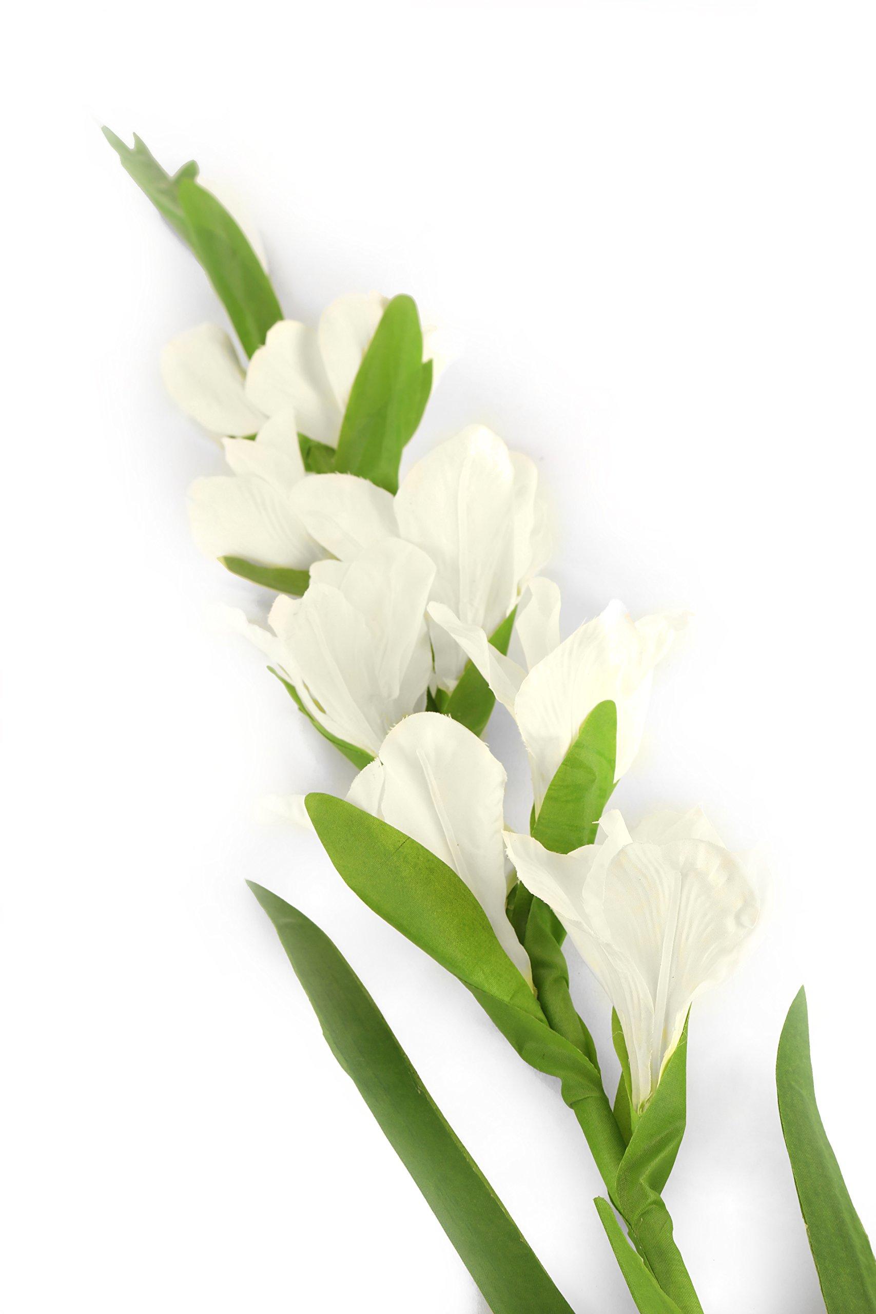 Elegancia Floral Artificial 118cm Solo vástago Blanco Gladiolos X 6–Artificial Flor de Seda Gama