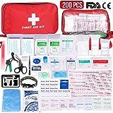 Gaoqian Kit Pronto Soccorso 200 Pezzi, Kit di Primo Soccorso Confezione Ghiaccio Coperte di Emergenza Maschera CPR per…