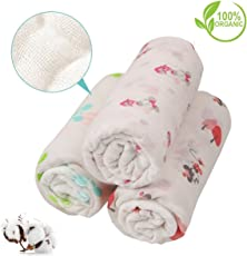 PEUBUD ® Organic Cotton Baby Muslin Cloth Swaddle/wrap/Blanket for New Born(100X100 cm)(Pack of 2)(0-12 Months)