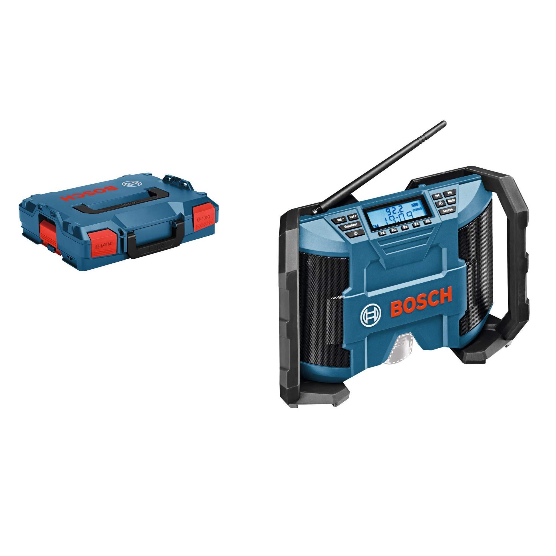 Bosch Professional GPB 12V-10 12V System Akku Baustellenradio (3,5mm AUX Kabel, FM/AM, MP3, mit Netzteil, ohne Akkus und Ladegerät, in L-Boxx)