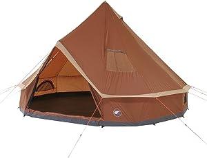 10T Mojave 400 Wood - Tipi Zelt mit XXL Wohn- & Schlafbereich, Campingzelt für 4-8 Personen, Indianer Outdoorzelt mit Bodenwanne, wasserdichtes Pyramidenzelt mit 5000mm, Familienzelt mit Transporttasche, Zeltheringen, Abspannleinen und Zeltgestänge