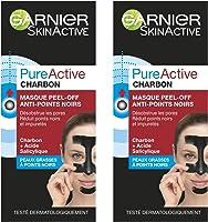 Garnier Pure Active Charbon Masque Peel-Off Anti-Points Noirs 50 ml - Lot de 2