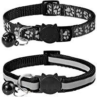Taglory Reflective Cat Collar with Bell and Safety Release, 2-Pack Girl Boy Pet Kitten Collars Adjustable 19-32cm Black