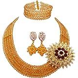 Laanc - Set di gioielli da donna con 5 file di cristalli, multicolore