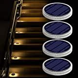 Solar Deck Lights Outdoor Waterproof, Garden Driveway Walkway Pathway Ground Step Dock Lights Solar Powered, LED Solar Lighti