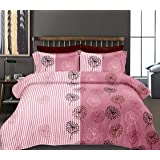 haus & kinder Two in One Mirage, 100% Cotton Double Bedsheet with 2 Pillow Covers, 186 TC (Pink)
