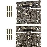 FUXXER® - 2x antieke sluitingen, vergrendelingshaken, slot, brons ijzer design, beslag voor kisten, kratten, 50 x 42 mm incl.