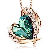 CDE Collar con Colgante de corazón de Amor para Mujer, Collares de Oro/Blanco de 18 Quilates, joyería, Regalos de cumpleaños