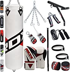 RDX Boxsack Set Gefüllt Kickboxen MMA Kampfsport Muay Thai Boxen mit wandhalterung Stahlkette Training Boxhandschuhe 17 PC Schwer 4FT 5FT Punching Bag
