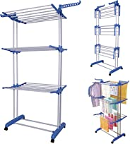 MultiWare Foldable 3 Layer Tier Clothes Airer Folding Hanger Dryer Stand Rack Powder Coated Tube Indoor Outdoor Laundry Grey
