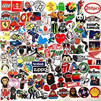 vahome 200 Pcs Featured Fashion Brand Stickers for Laptop,Luggage,Car,Motorcycle,Bicycle,No-Duplicate,Random