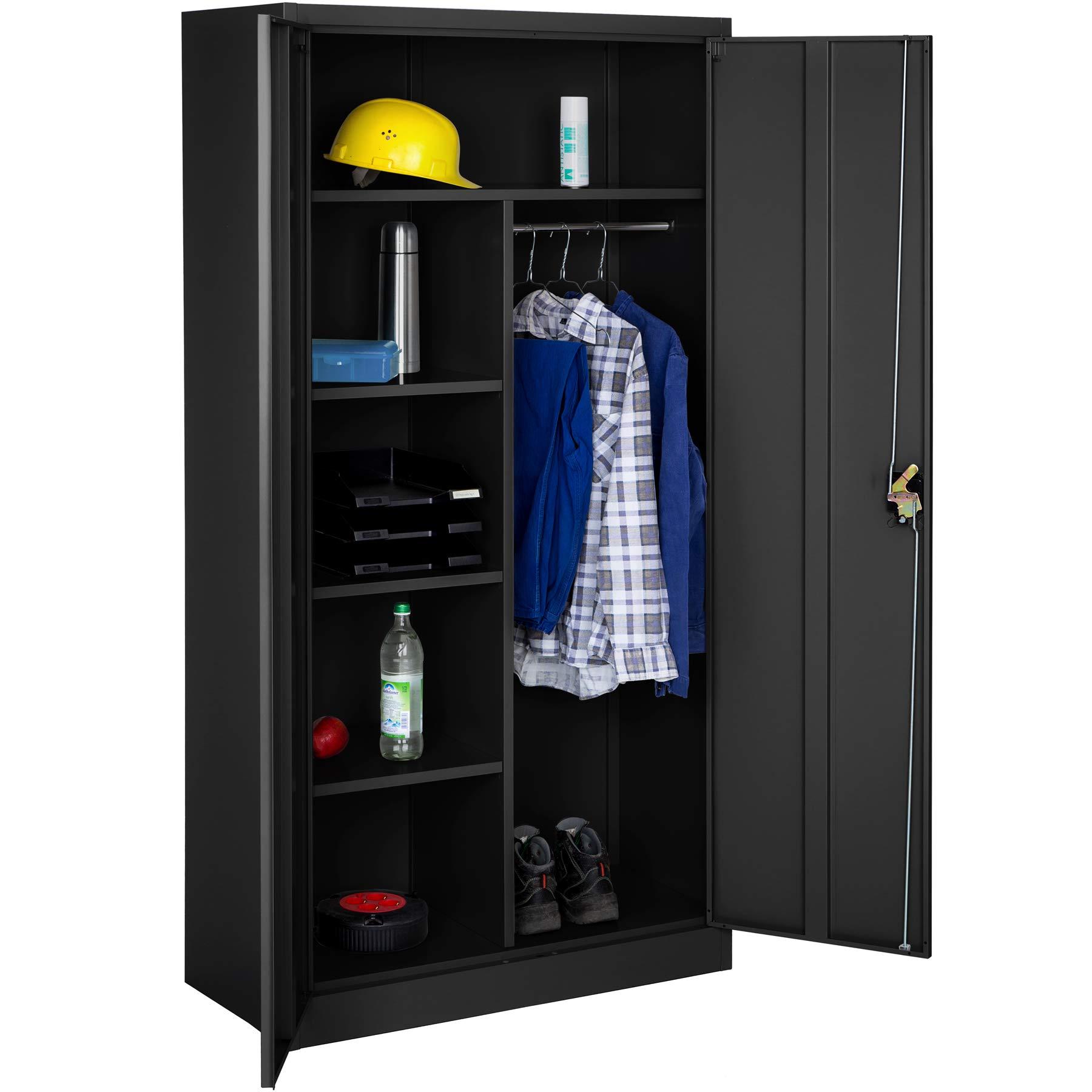 tectake 402940 armoire de bureau metallique noir 2 porte verrouillable 180x90x40cm style. Black Bedroom Furniture Sets. Home Design Ideas
