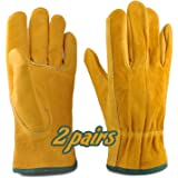 2 Pairs Garden Gloves, Thorn Proof Gardening Gloves for Men & Women, Leather Safety Work Gloves, Heavy Duty Rigger Gloves for