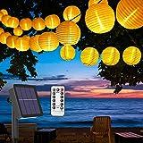 BACKTURE Guirlande Lumineuse Solaire Exterieur, 6.3M 30 LED 8 Modes Lumière de Jardin avec 3 Lanterne de rechange, IP65 Étanc