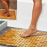 Luxe Multifunctionele Bamboe Badmat Voor Douche Spa Sauna met Niet Slip Voeten | Indoor Outdoor Gebruik voor Keuken Slaapkame
