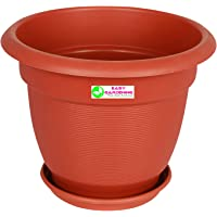"""Easy Gardening 12"""" Elegance Gardening Planters and Trays - Terracotta Color Pots (4)"""